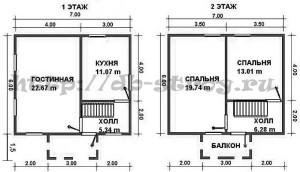 план схема этажей деревянного дома 6 на 7 м в полтора этажа