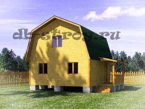 модель дома ДБ-13 со стороны входа, дом 6 на 6 м с террасой 4 на 1,5 м