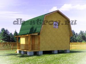 вид дома с зади, дом по проекту ДБ-13 6х6 м + терраса 1,5х4 м