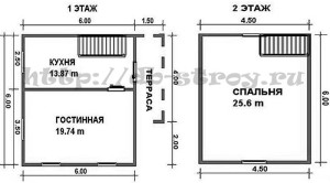 схема план деревянного дома ДБ-13 размерами 6 на 6 + терраса 4 на 1,5 метра