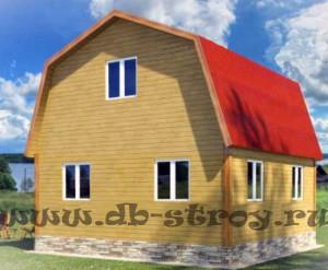 вид со стороны заднего фронтона, дом 6х7,2 м (6х6 м плюс терраса)