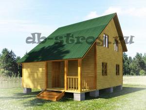 проект деревянного дома ДБ-18 6х8 метров, вид со стороны входа