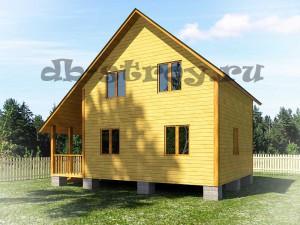 деревянный дом 6 на 8 м с косой крышей, с террасой