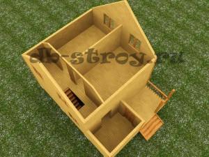 3d модель мансардного этажа деревянного дома по проекту ДБ-18 размерами 6 на 8 м