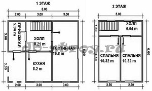 схема этажей, планировка дома с косой крышей, дом 6х8 м