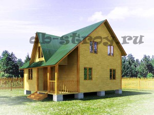 """дом по проекту ДБ-19 6х8 метров с косой крышей и """"кукушкой"""", дом в полтора этажа"""