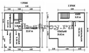 Планировка дома ДБ-19: первый и второй этажи