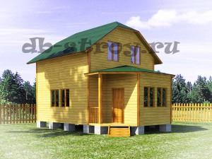 проект ДБ-21, дом с вальмовой крышей, верандой и крыльцом