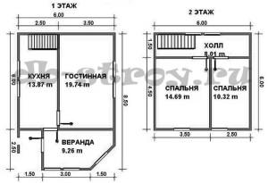 планировка этажей дома 6 на 8,5 м