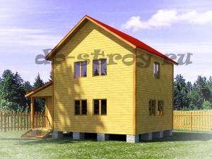 дом по проекту ДБ-22 6х8 м в два этажа с верандой
