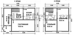 план-схема первого и второго этажей проекта деревянного дома 6х8 м ДБ-22