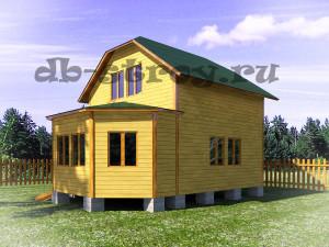 вид сбоку, проект дома с вальмовой крышей ДБ-26