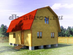 дом 6 на 8 м с ломаной крышей, проект ДБ-27