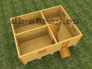 3d модель первого этажа деревянного дома по проекту ДБ-27 размерами 6 на 8 м