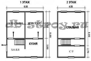 Планировка проекта ДБ-27, 1 и мансардный этажи