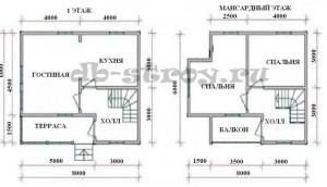 план-схема дома, проект ДБ-28