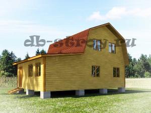 деревянный дом 6х6 с ломаной крышей плюс веранда 3х6 м
