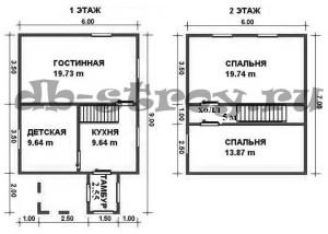 Планировка проекта ДБ-30 1 и мансардный этажи