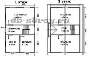 планировка брусового дома с кукушкой 6х9м