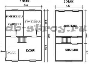планировка этажей проекта ДБ-32 6 на 9 метров