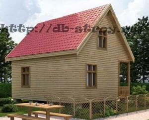 вид модели дома по проекту ДБ-33 с задней части, дом 7 на 7 м