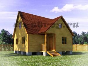 проект деревянного дома с 3-мя фронтонами ДБ-36 7,5х8 м