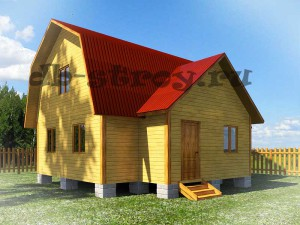 проект деревянного дома с тремя фронтонами 7,5х8 м