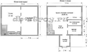 схемы этажей проекта деревянного коттеджа 7х9