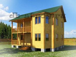 внешний вид дома двухэтажного с эркером, террасой и балконом