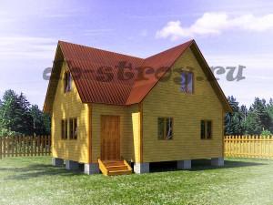 проект дома с тремя фронтонами 8х8 м