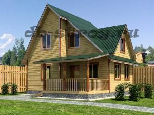 дом в 1,5 этажа по проекту ДБ-45 8х8 с 3-мя фронтонами и террасой