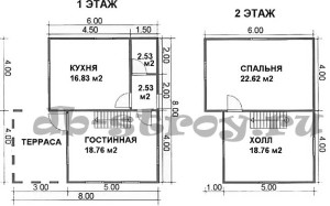 планировка этажей дома 8х8 с 3-мя фронтонами