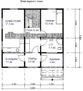 план схема коттеджа 1-го этажа с вариантом меблировки
