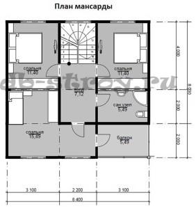 план 2-го этажа коттеджа ДБ-46