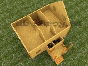 визуализация деревянногодома 8 на 9 метров, проект ДБ-48