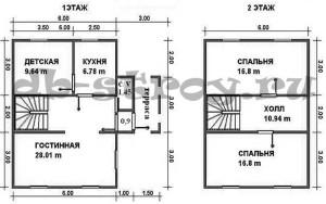 план, схема этажей дома, проект ДБ-48