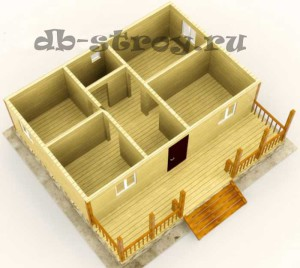 3d модель деревянного дома, проект ДБ-50