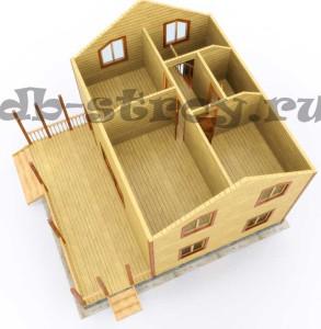 визуализация модели дома ДБ-51 8 на 9 метров, вид на марсардном этаже