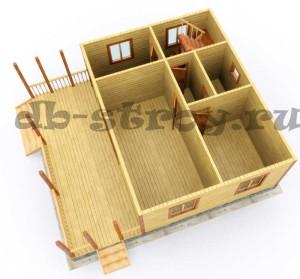 визуализация деревянного коттеджа 8 на 9 метров в полтора этажа, проект ДБ-51