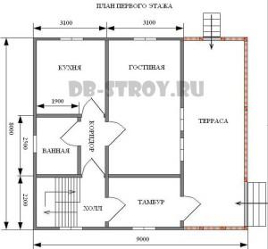 план первого этажа коттеджа, проект ДБ-51
