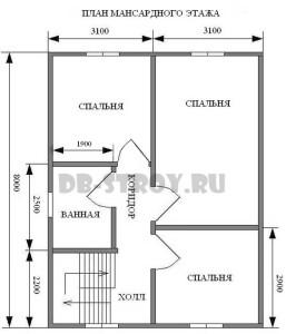 план мансардного этажа, коттедж ДБ-51