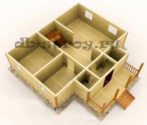 3d модель первого этажа коттеджа 9х9 м