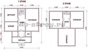 план этажей коттеджа 9х9 с мансардой
