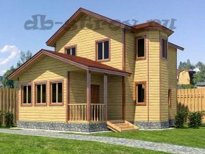 экстерьер двухэтажного деревянного коттеджа 8,5х10 м