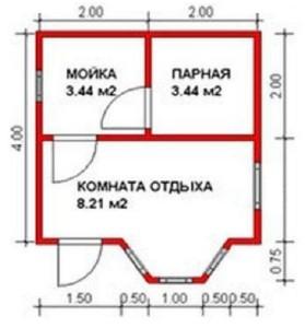 План бани 4х4,75 м