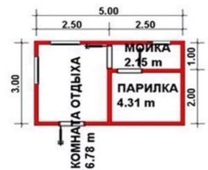 Планировка баня терра 3 размерами 3 на 5 метров