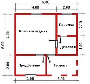 План бани Здоровье 3 6х6 м